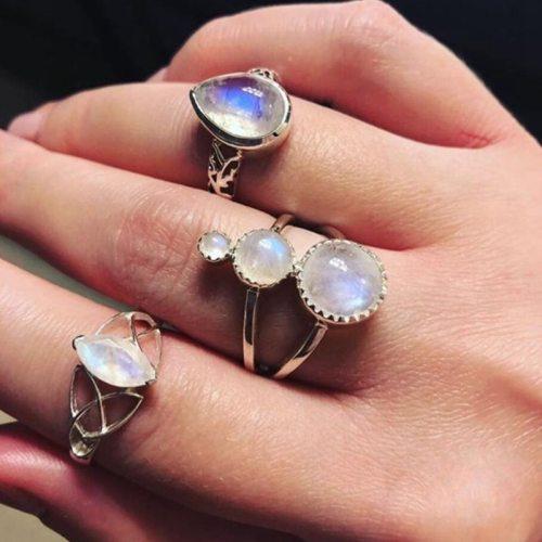3 Pieces Women's Ring Set Geometry Imitation Gemstone Elegant Top Fashion Accessory Hollow out Geometric