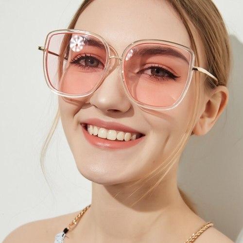 Women's Full Frame Oversize Personalized Glasses zoravia Metal Decoration Accessory Anti-UVB Square Shape Sunglasses Casual Oversized Elegant Solid