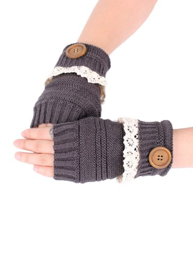 Women's Warm Gloves Lace Button Fingerless Patchwork Hand wash Touchscreen