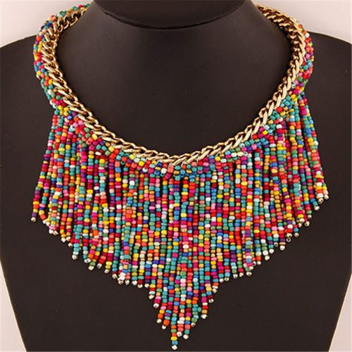 Women's Necklace Colorful Beads Tassel Style Necklace Beading Fashion Ethnic Solid Color Accessories
