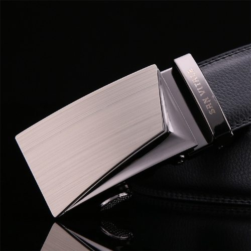 Men's Belt High Quality Automatic Buckle Fashion Metal Decoration Men's Belts Basic Accessory Solid Color