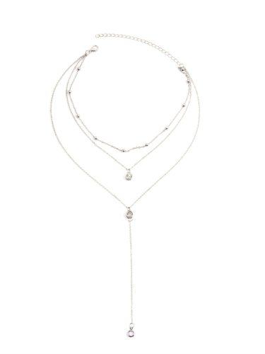 Women's With Pendant Collar Multi Layer Rhinestone Decor Chic Necklace Accessories Fine Geometric Casual
