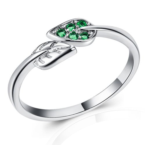 Women's Fashion Ring Leaf Design Zircon Delicate Creative Accessories Solid Color Top Fashion Fine Carving Infinite Charming Jewelry