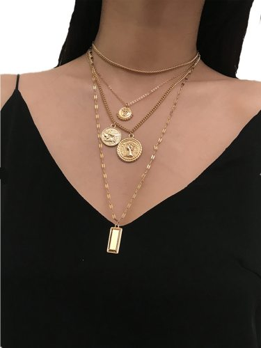 Women's Multi-layer Necklace Vintage Stylish Necklace Accessory Tassel Fashion Casual Solid Color