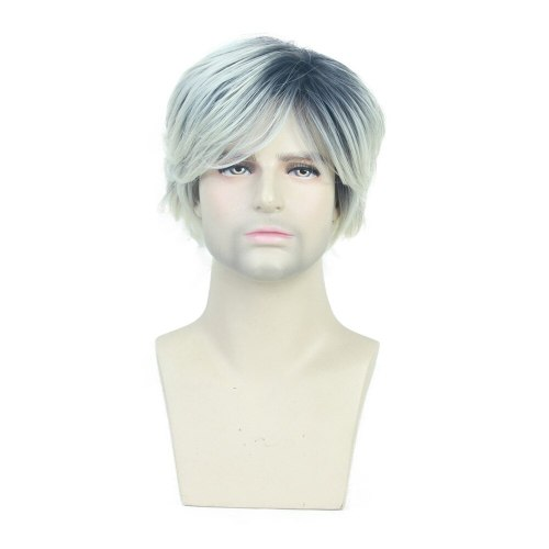 Men's Synthetic Wig Side Part Gradient Fluffy Natural Wig Costume Short Hair Hand wash