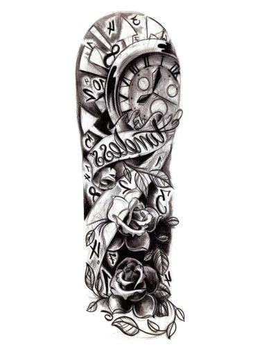 Men's Tattoo Sticker Flower Pattern Stylish Design Simulation Full Arm Tattoo Accessory