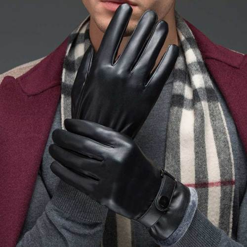 Men's Gloves Water Proof Riding Warm Outdoor Ethnic Accessory Wipe clean Button Solid Color