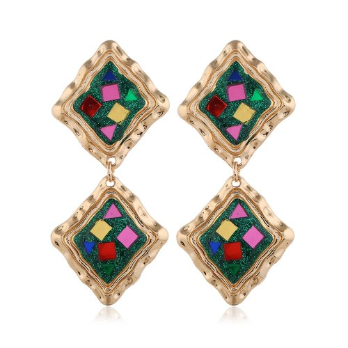 1 Pair Women's Drop Earrings Ethnic Creative Long Alloy Inlaid with Artificial Gem Tassel Fashion Others Geometric Casual Accessory