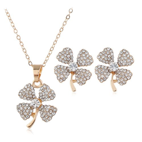 3 Pieces Women's Necklace & Earring Set Four-leaf Clover Pattern Jewelry Set Top Fashion Contrast Color Accessories Geometric