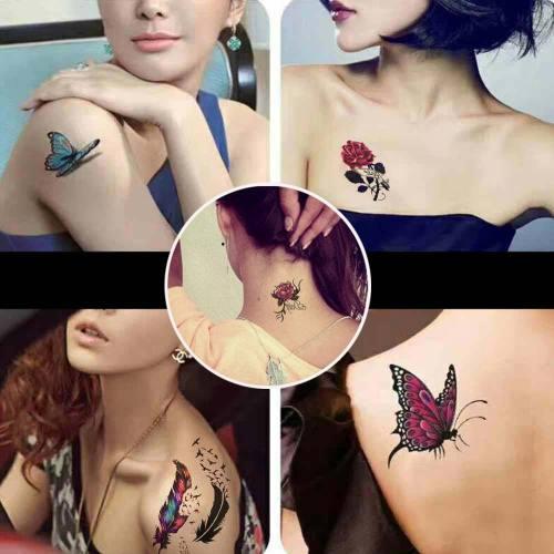 25Pcs/set Women's Tattoo Stickers Butterfly Flower Pattern Stylish Tattoos Sweatproof Carving Cartoon Accessory Ethnic Style
