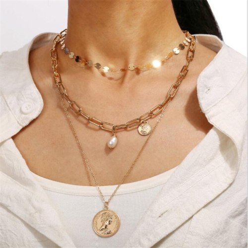 Women's Multi-Layer Necklace Casual Pendant Necklace Geometric Pearls Fine Accessories Vintage