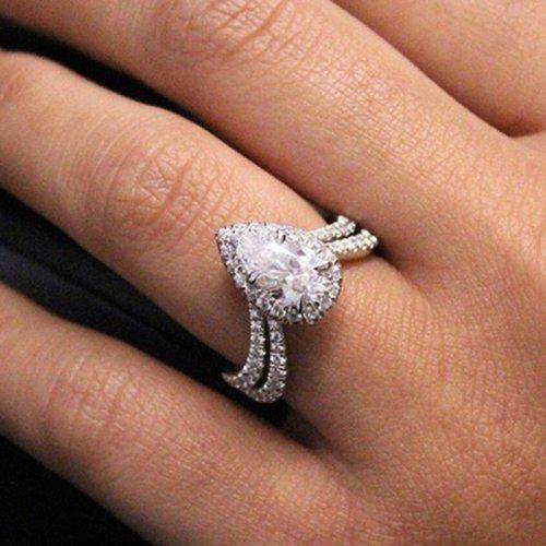 Women's Fashion Ring Premium Delicate Water Drop Full Zircon Creative Rhinestone Fine Accessory Infinite Charming Jewelry Solid Color Shape: geometry