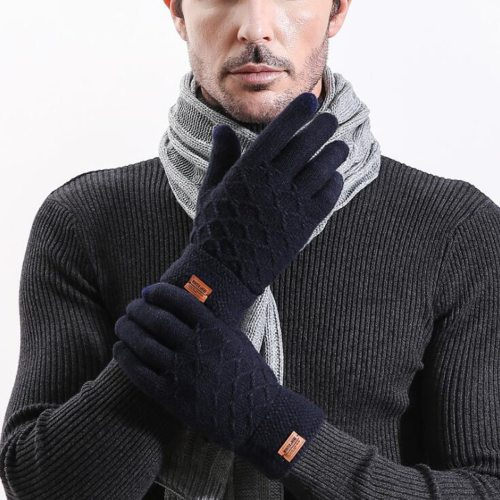 Men's Gloves Simple Style Touch Screen Warm Fashion Solid Color Vintage Hand wash Accessory Contrast Color