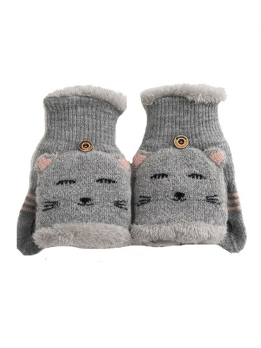 Women's Warm Gloves Adorable Cartoon Cat Design Supple Knitted Hand wash Outdoor Animal
