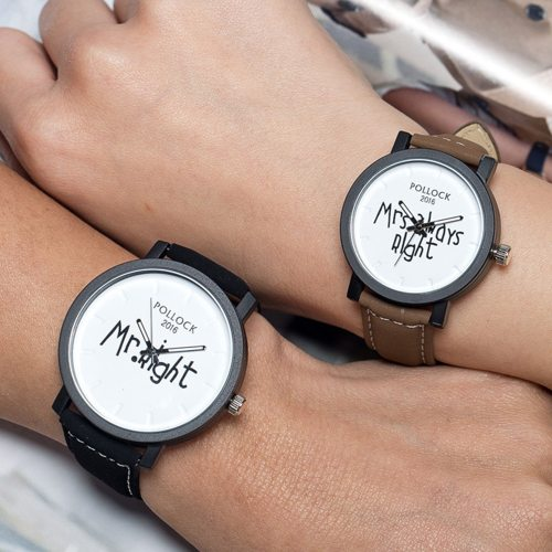1 Pair Simple Large Dial Design Cute Letter Couple watches Quartz Alloy Sporty Watches Pointer PU Pin Buckle