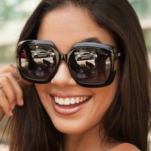 Women's Stylish Oversize Full Frame Eyewear Metal Decoration Square Shape Elegant Wayfarer Accessories Geometric Sunglasses Celebrity Anti-UVB Wipe