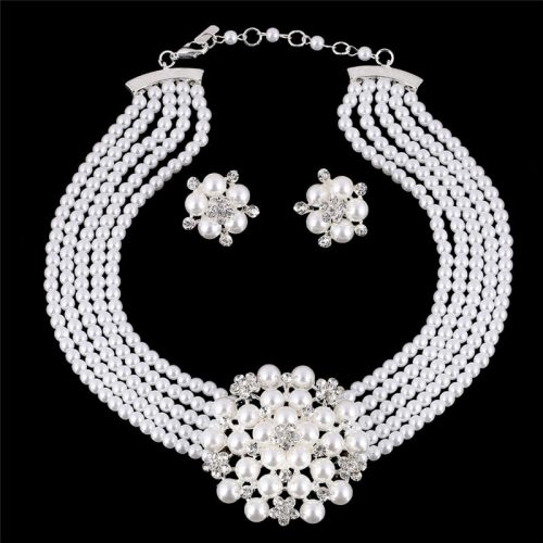 3Pcs Women's Necklace & Earring Set Imitation Pearl Elegant Jewelry Set Floral Fashion