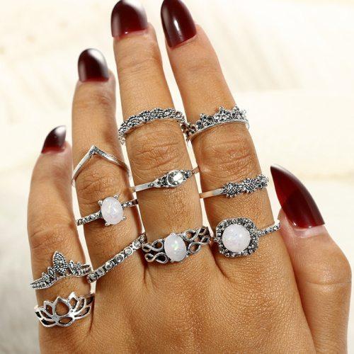 11 Pieces Women's Ring Set Simple Geometry Rhinestone Lotus Crown Elegant Vintage Geometric Accessory Fashion Hollow out