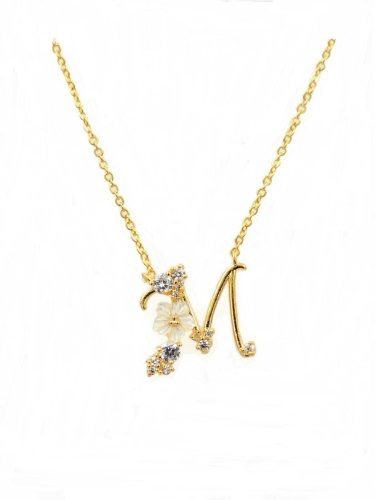 Women's Fashion Necklace Elegant Stylish Zircon Inlay Letter Design Sweet Floral Infinite Charming Jewelry Flowers Fine Accessories