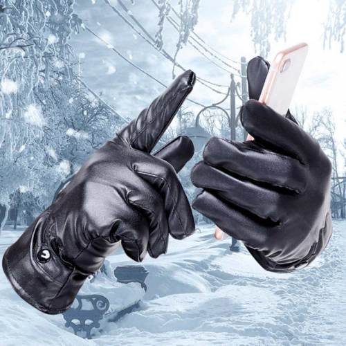 Men's Sports Gloves Touch Screen Thicken Warm Button Solid Color Accessory Machine wash Punk Fashion