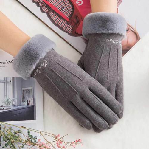 1 Pair Women's Warm Gloves Thicken Cozy Gloves Fashion Hand wash Floral Pom Poms Pastoral