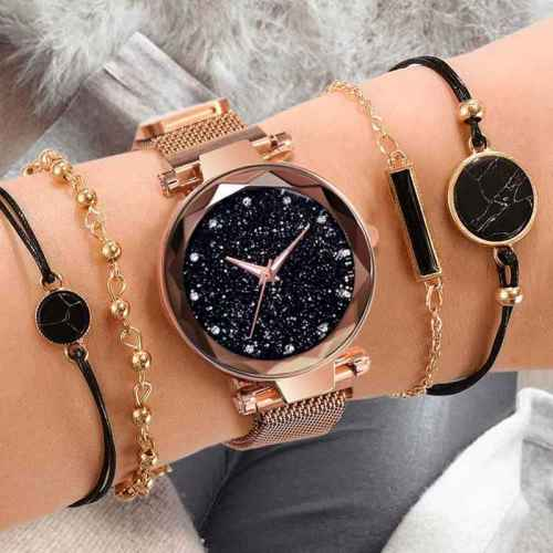 Women's 5 Pieces Fashion Watch & Bracelet Set Fashion Glow In Dark Elegant Women's Watches Rhinestone Wipe clean Top Fashion Hasp Alloy Round Figure