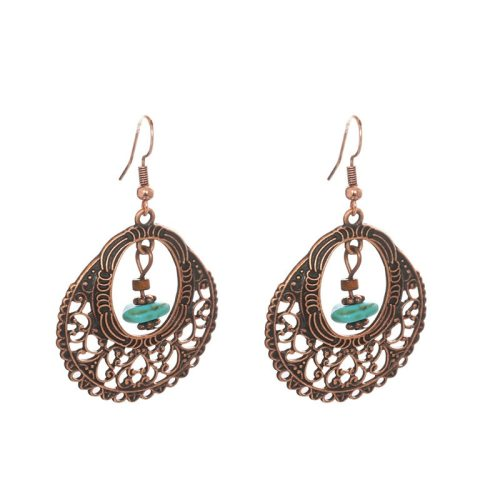 Women's Drop Earrings Hollow Ethnic Earrings No Inlay Fine Metal Decoration Allergy Free Accessory Vintage Geometric