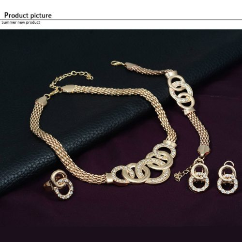 4Pcs Women's Whole Set Fashion Gold Plating Necklace Circle Earrings Bracelet Geometric Catenary/Necklace Rhinestone Fine Infinite Charming Jewelry