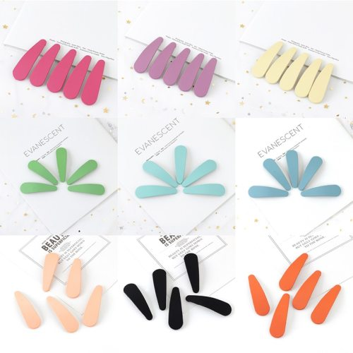 5 Pcs Women's Hair Clips Set Dull Polish Candy Color Simple All Match Wipe clean Fine Hair Accessories