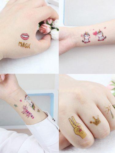 4 Pcs Women's Tattoo Stickers Cartoon Pattern Non-Toxic Unicorn Cute Design Temporary Tattoo Geometric Other Easy Attaching
