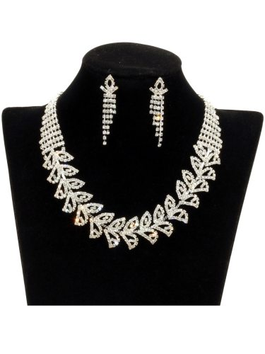 Women's 2 Pcs Necklace Earring Set Retro Chic Stylish Leaf Decor Jewelry Basic Color: transparentSize: 45 cmThe suit includes a necklace and 1 pair