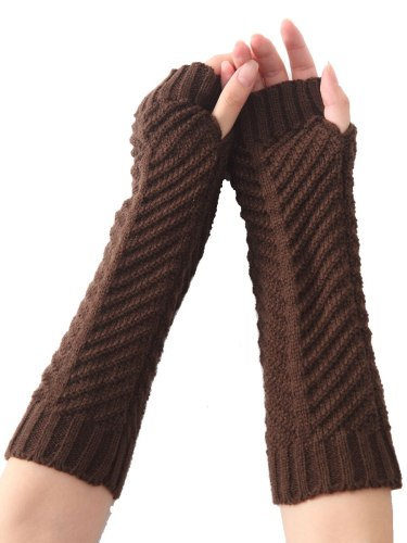 Women's Warm Gloves Knitted Color Long Fingerless Gloves Hand wash Solid Fashion