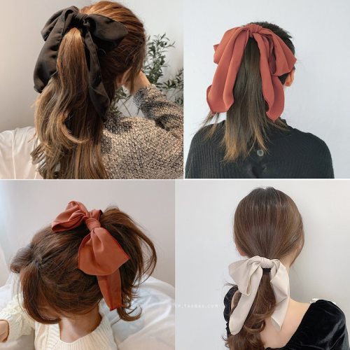 5 Pieces Women's s Large Celebrity Fashion Hair Elastic Solid Color Bow