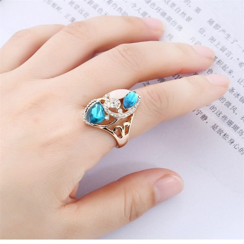 Women's Fashion Ring Vintage Imitated Gemstone Ladylike Basic Rhinestone Accessories Solid Color Top Fashion