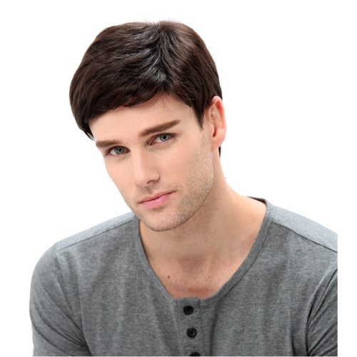 Men's Synthetic Hair Wig Off Center Parting Premium Short Top Fashion Hand wash Basic