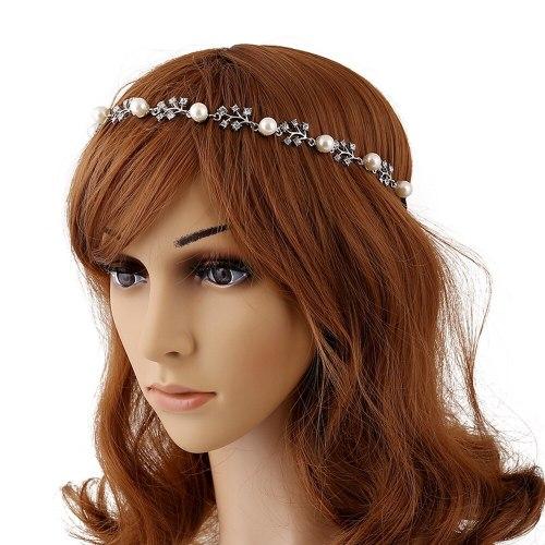 1Pc Women's Hair Chain Rhinestone Decor Elegant Hair Fine Hair Elastic