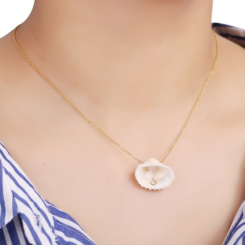DE NOVO Women's Fashion Necklace Seashell Elegant Arabic letter Design Necklace Fine Accessory