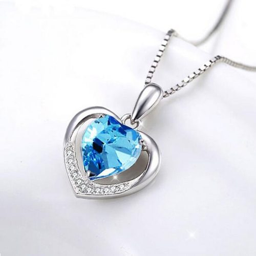 Lucky Doll Women's Necklace Simple Heart Imitation Crystal Elegant Catenary/Necklace Sweet Solid Color Crystals Fashion