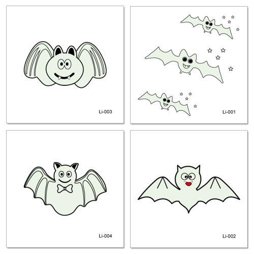 4 Pieces Women's Tattoo Stickers Fashion Bat Pattern Glow In Dark Water Proof Elegant Accessories Animal Other Sequined Waterproof