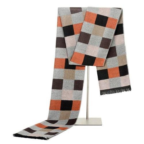 SAN VITALE Men's Scarf Checkered Color Block Comfy Warm Geometric Scarves Winter Scarves Top Fashion Tassel Accessory Hand wash