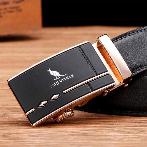SAN VITALE Men's Belt Automatic Buckle Business All Match Accessory Solid Color Metal Decoration Fashion Men's Belts