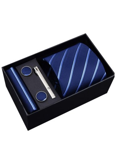 4Pcs Men's Gifts Business Tie Round Shape Brooch With Trendy Tie Pin Ties Machine Sewing Thread Formal 4-6Pcs Gift Box Striped Included: tie