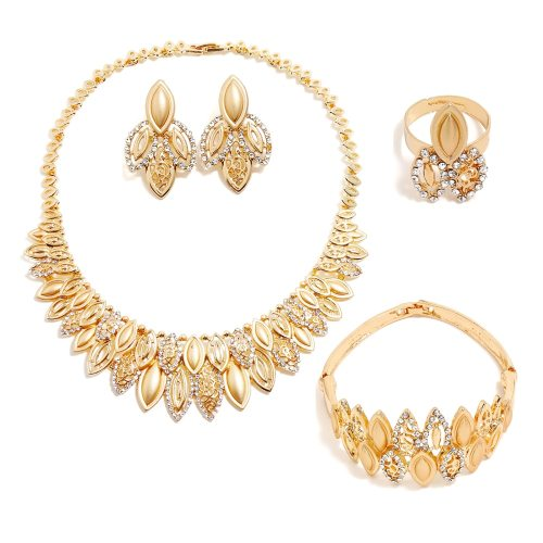 Women's 5 Pieces Necklace & Earrings & Ring & Bracelet Set Elegant Accessories Casual Rhinestone Geometric Accessory Fashion