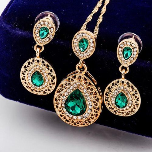 Lucky Doll 3Pcs Women's Necklace & Earring Set Water-drop Shape Jewelry Set Basic Accessories