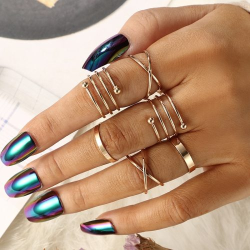 6 Pieces Women's Ring Set Simple Retro Geometry Round Elegant Geometric Hollow out Fashion Top Fashion Accessory