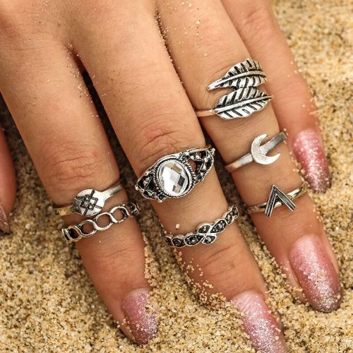 7 Pieces Women's Ring Set Simple Moon Leaf Elegant Fashion Geometric Hollow out Top Fashion Accessory