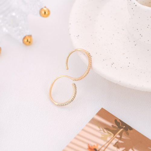 DE NOVO Women's Fashion Ring Simple Zircon Double Fingers Open Solid Color Metal Decoration Sweet Religious Catenary/Necklace
