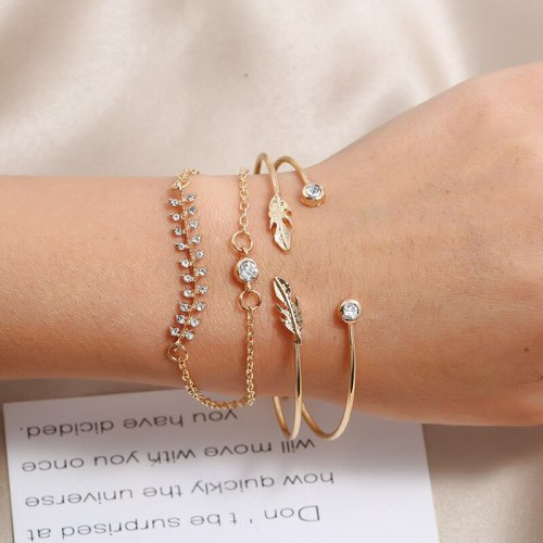 4 Pieces Women's Bracelets Ladylike Elegant Vintage Fashion Rhinestone Geometric Accessories