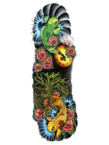 Men's Arm Tattoo Hyperbolic Simulation Fish Pattern Color Block Accessories
