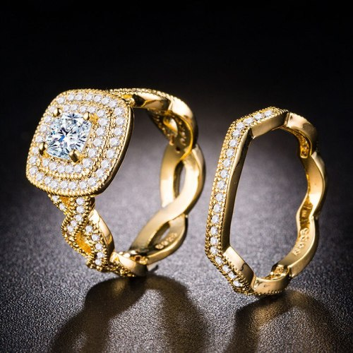 One Pair Ring Set Zircon Solid Color Metal Decor Silver Alloy Geometric Accessories SILVERAGE Rhinestone Vintage Casual